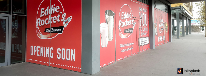 Eddie Rockets window graphics at The point Village