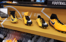 Football Boot Display with vinyl graphics applied to display